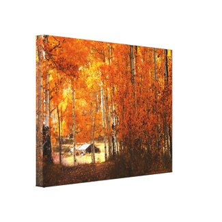 Wrapped Canvas Fine Art Little House Aspen Autumn Canvas Print