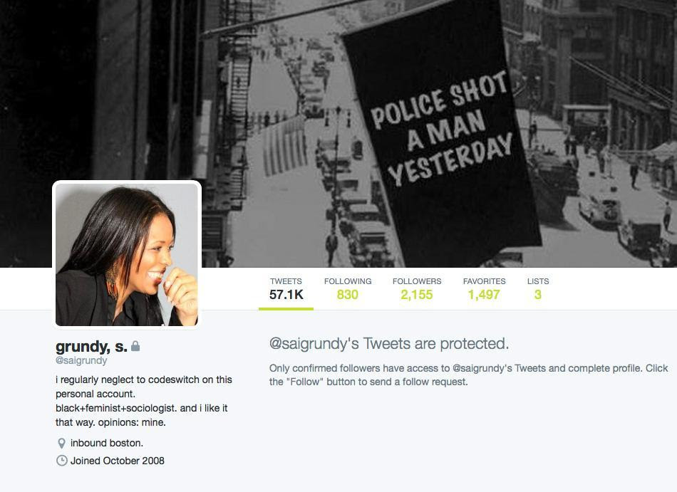 An image from the Twitter account of Saida  Grundy, who starts this week as a Boson University professor.
