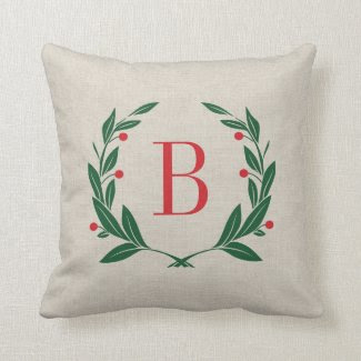 Wreath Monogram Holiday Throw Pillow