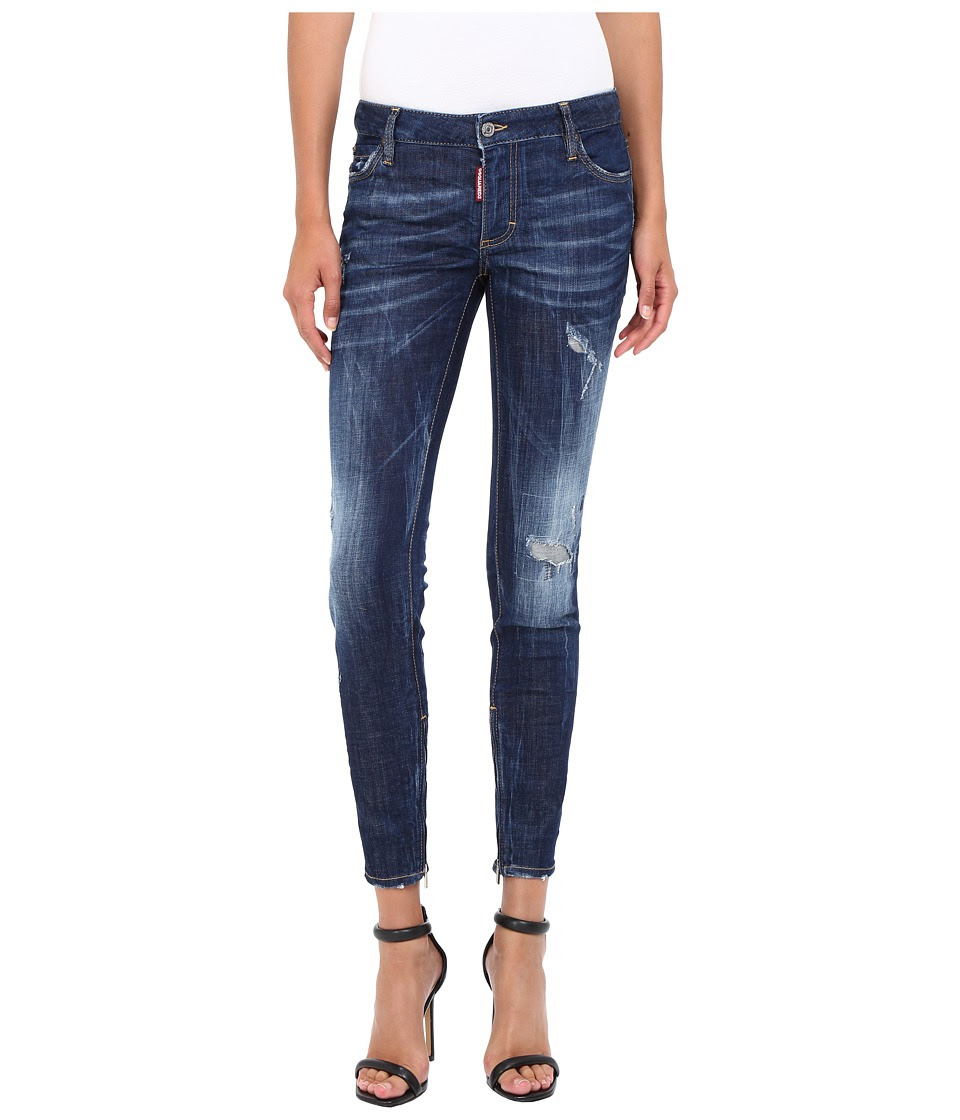 DSQUARED2 - Flat Wash Medium Waist Skinny Jeans in Blue (Blue) Women's Jeans