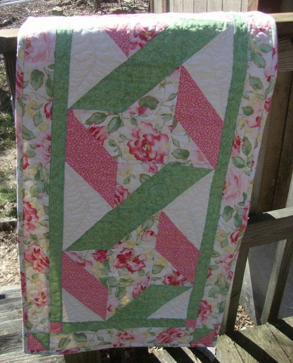 Table Runner Ribbon Rose Shabby Chic quilted by MaryMackMadeMine, $79.00