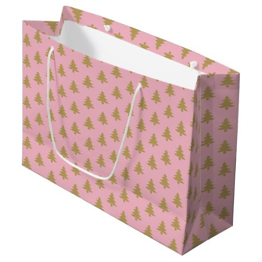 Pink Holiday gift bag with a golden tree pattern