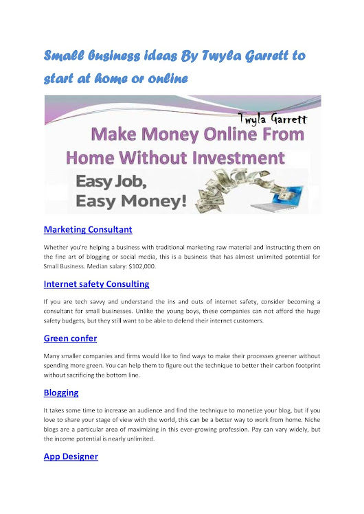 Small Business Ideas By Twyla Garrett To Start At Home Or Online