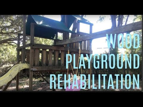 Florida Wood Playground Rehabilitation: Using Olympic's Rescue It MAX: Deck Cleaner