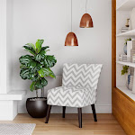 Chevron Accent Chair, Gray / White