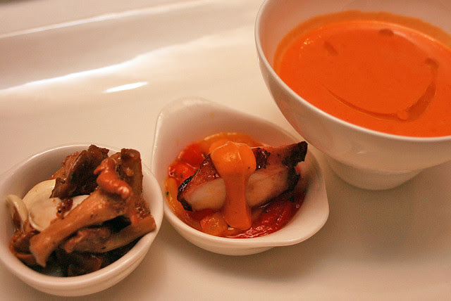 Mushroom confit, octopus plancha, gazpacho with crab