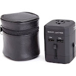 Royce Leather International Travel Adapter in Genuine Leather Case (Black)