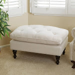 Christopher Knight Home Creme Tufted Fabric Ottoman, Cream