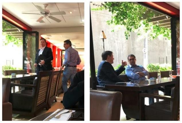 O ex-deputado Rodrigo Rocha Loures em encontro com Ricardo Saud, da J&F, monitorado pela investigação, em São Paulo, em abril. As imagens foram anexadas na denúncia contra Temer
