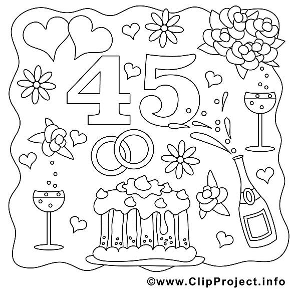 45 ans dessin – Mariage gratuits  imprimer