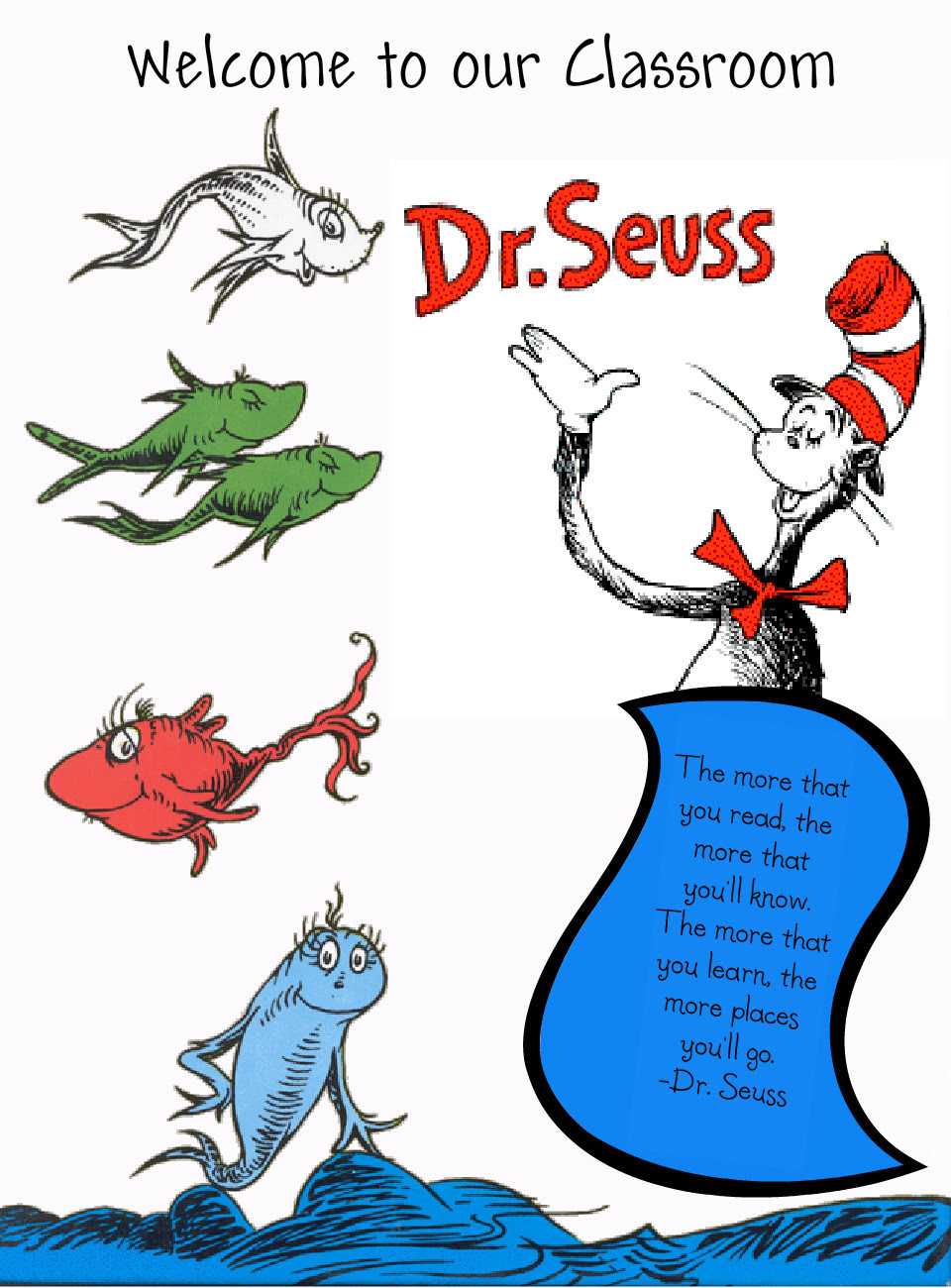 Dr Seuss Fish Clip Art Colouring Pages (page 2) - Cliparts.co
