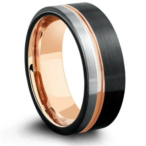 triple tone rose mens  tone tungsten wedding band