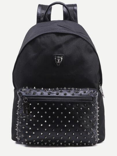 Black Metal Leopard Head Accent Studded Canvas Backpack