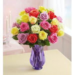 Flower Delivery by 1-800 Flowers Two Dozen Assorted Roses with Purple Vase