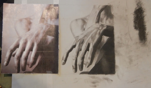 Hand, charcoal drawing by Mia