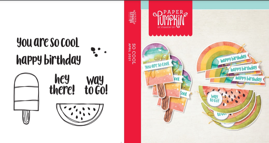 April 2021 Paper Pumpkin: So Cool stamp set case insert #paperpumpkin