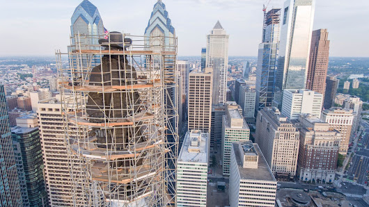 Crazy drone photos show City Hall's William Penn statue undergoing restoration