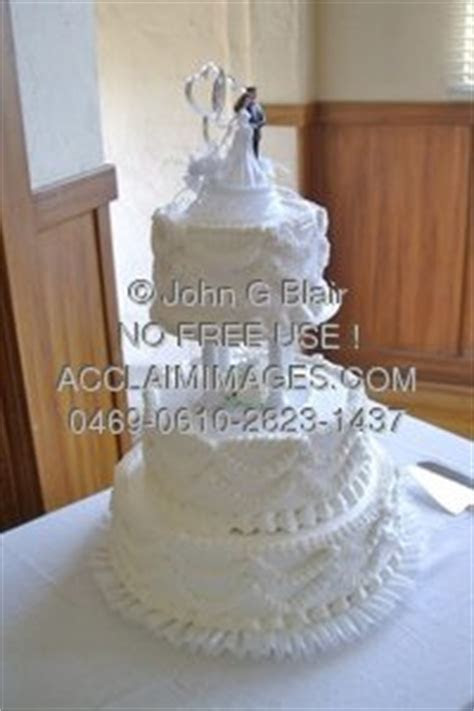 Stock Photo of a White 3 Tier Traditional Wedding Cake