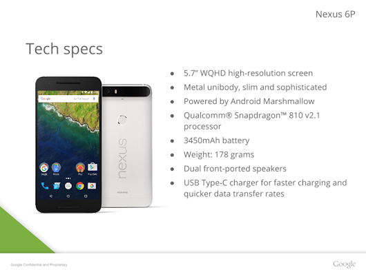 Nexus 6P Presentation Leak Includes More Images, Confirms Metal Body, Gorilla Glass 4, And 3450mAh Battery