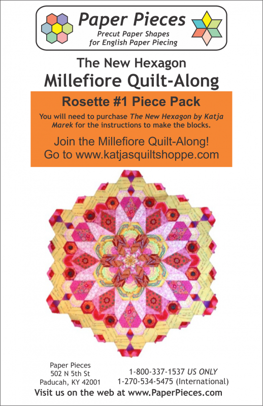 Rosette #1 for The New Hexagon Millefiore Quilt-Along