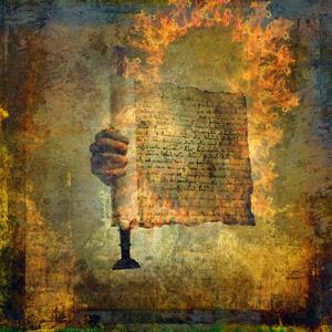Manuscrito antiguo contra un trasfondo algo misterioso identifica la Lista de textos que componen el comentario Apocalipsis: análisis de las profecías y visiones.