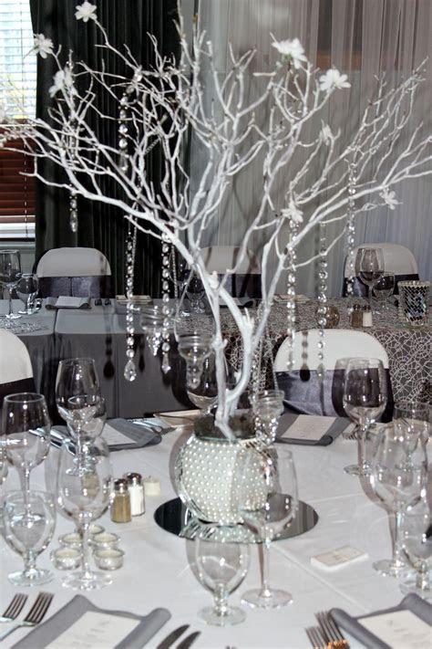 black gray and bling wedding   Manzanita centerpiece, Grey