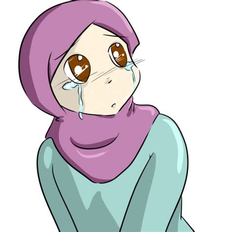 kartun muslimah sedih anak cemerlang