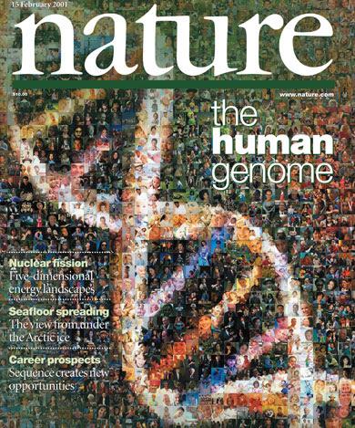 Portada de la revista 'Nature' anunciando la secuenciación del genoma humano. | Nature