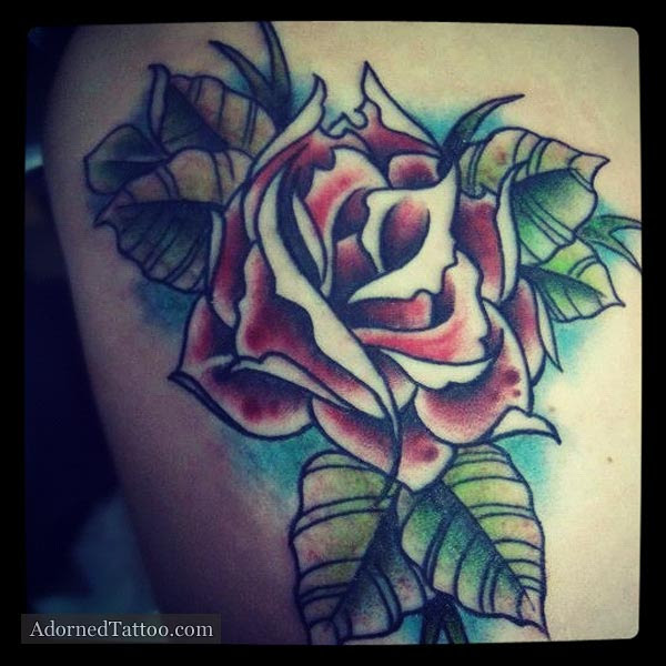 Neo Traditional Red Rose Tattoo Adorned Tattoo