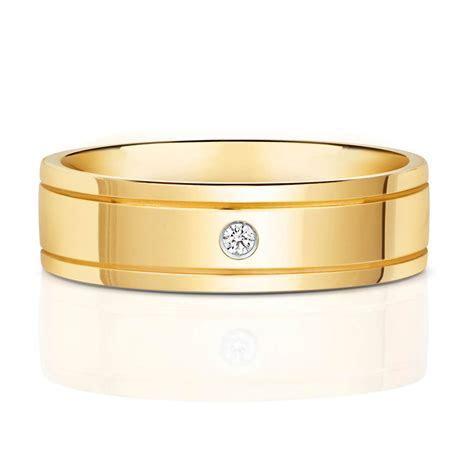 Mens 9ct yellow Gold Diamond 6mm Court Wedding Ring