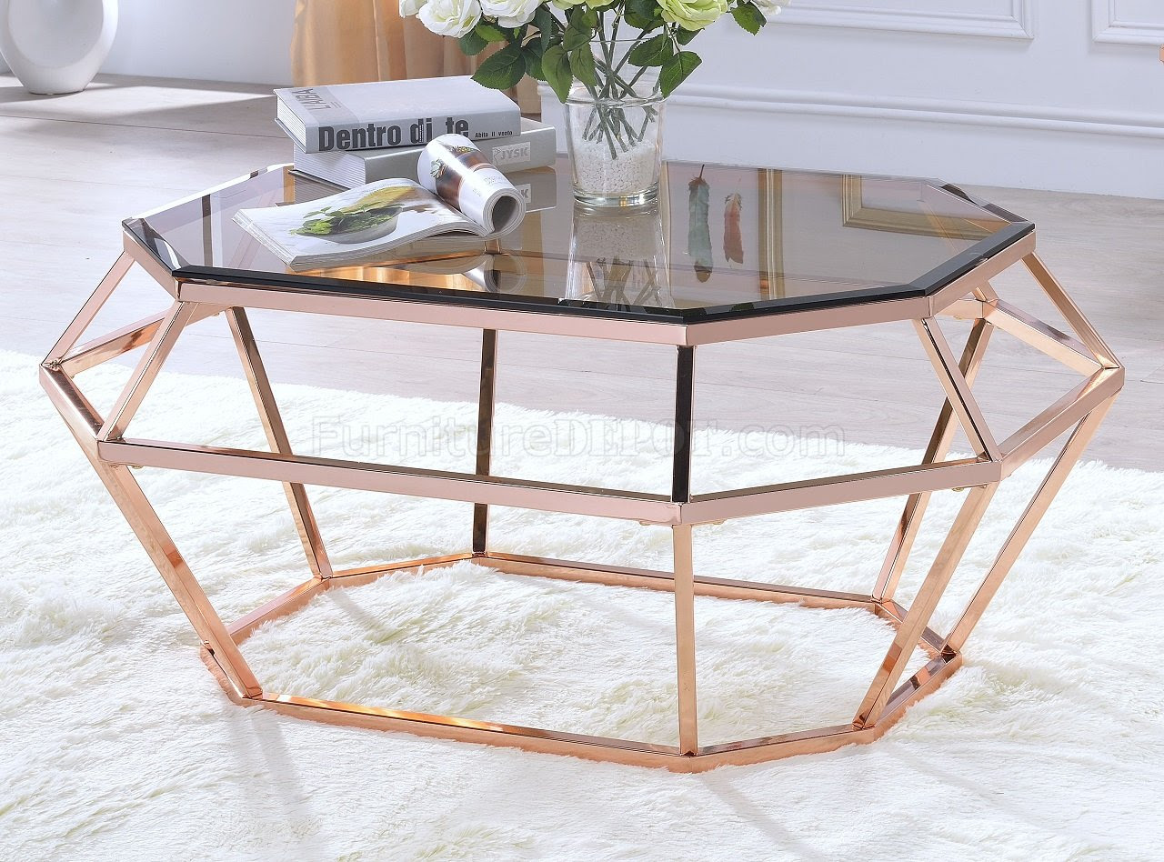 Clifton Coffee Table 83350 in Rose Gold by Acme w/Options