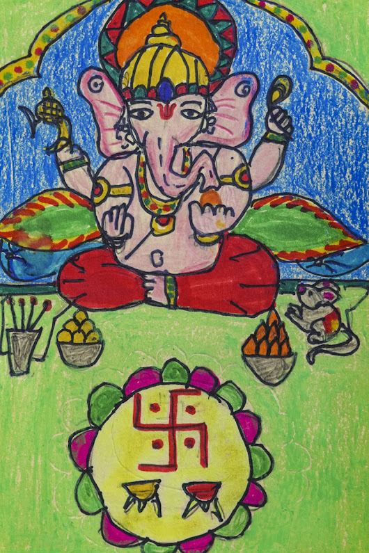 Ganesha painting by Hanshal Banawar for art contest Khula Aasmaan
