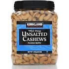 Kirkland Signature Unsalted Cashews, Whole Fancy - 2.5 lb canister