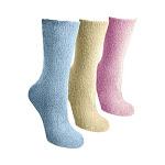 Women's MUK LUKS Crew Aloe Socks (3 Pair), Adult, Size: One Size (10), Light Blue/Pink/Ecru