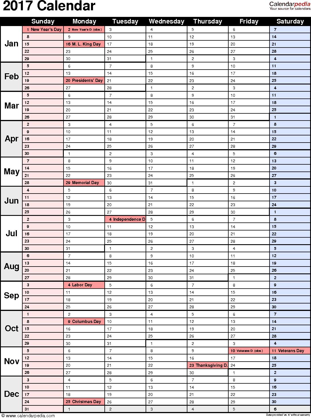 2017 Calendar - Download 17 free printable Excel templates (.xls)