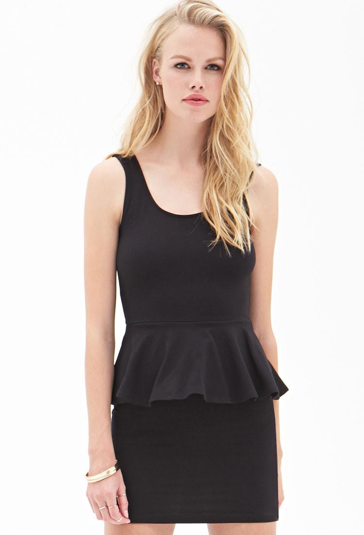 forever 21 classic peplum dress in black  lyst