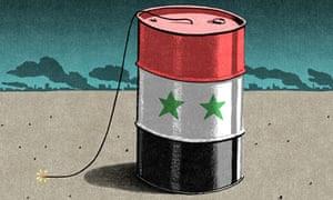 Bill Bragg illustration: a Syrian barrel bomb