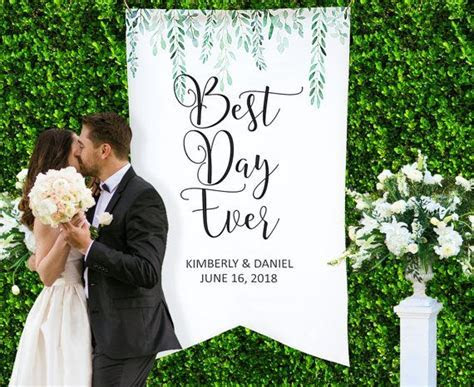 Wedding Backdrop Sign Banner Decor, Personalized Names