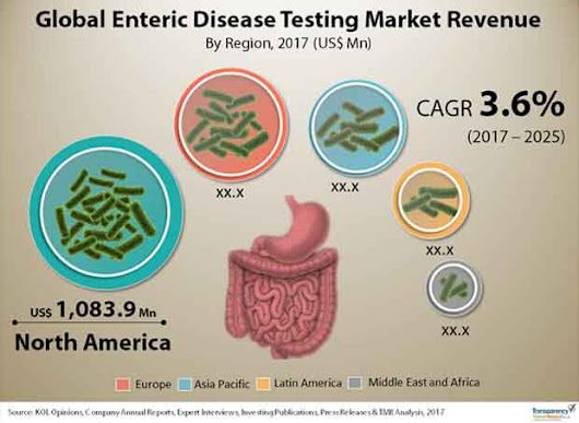 Enteric Disease Testing Market (Disease Indication - Bacterial Enteric Disease, Viral Enteric Disease, and Parasitic Enteric Disease; Testing Methods - Immunoassay Testing, Conventional Testing, and Molecular Diagnostic Testing; End User - Hospitals, Diagnostic Laboratories, and Physician Offices) - Global Industry Analysis, Size, Share, Growth, Trends, & Forecast 2017 - 2025
