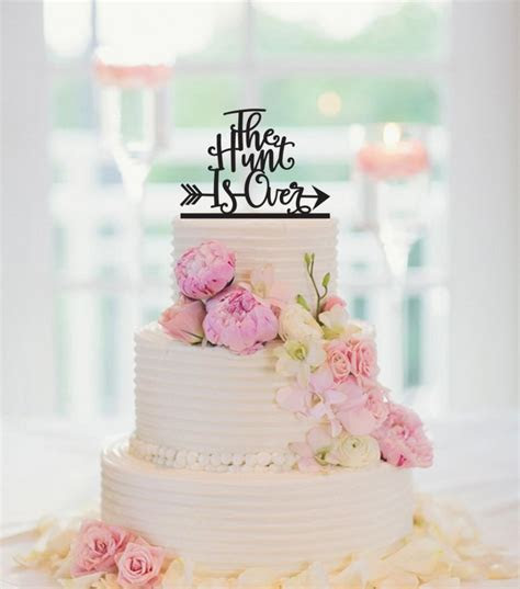 THE HUNT Is OVER Cake Topper, Deer Wedding Cake Topper