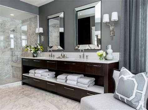 dark brown double washstand contemporary bathroom