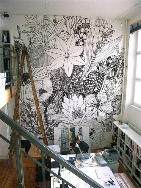 fun feature walls   home wall drawing flower