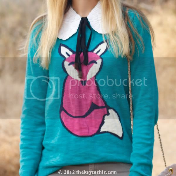 Mossimo fox sweater, Marni at H&M white sequin collar