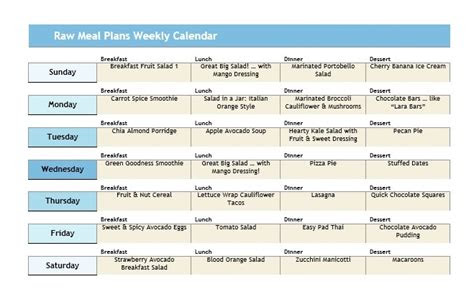raw    day    day raw meal plans