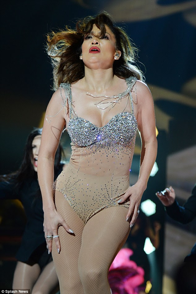 Hot to trot: The bombshell wasn't afraid to sweat it out as she performed the high-energy routines