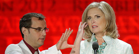 Anne Romney prepares for her speak at the GOP convention in Tampa, Fla. (AP Photo/J. Scott Applewhite)