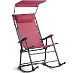 Gymax Folding Rocking Chair Rocker Porch Zero Gravity Furniture Sunshade Canopy Red