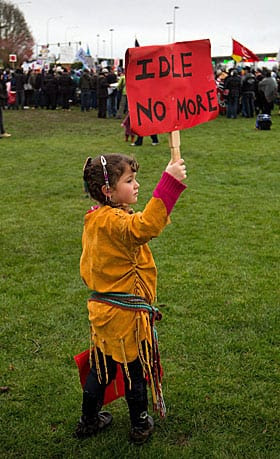Four-year-old Lily Mervyn holds a sign at an Idle No More demonstration near Surrey, B.C., earlier this month. A teachable moment?