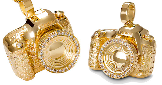Here's a 14K Gold Canon 5D Mark III Pendant with 34 Diamonds