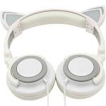 TechComm Foldable LED Cat Ear Headphones Grey Over The Ear K7 - Standard Wired (LX-L107)